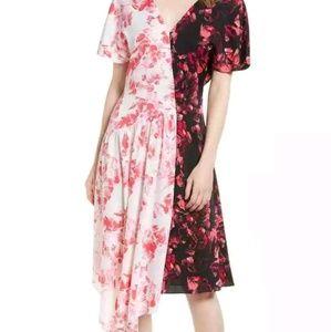Asymmetrical Dual Floral Print Silk Dress